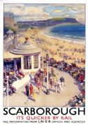 Scarborough Beach, Yorkshire. LNER Vintage Travel Poster by Arthur C Michael. c1935
